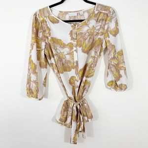 New York & Co . Tie Waist Floral Blouse . S